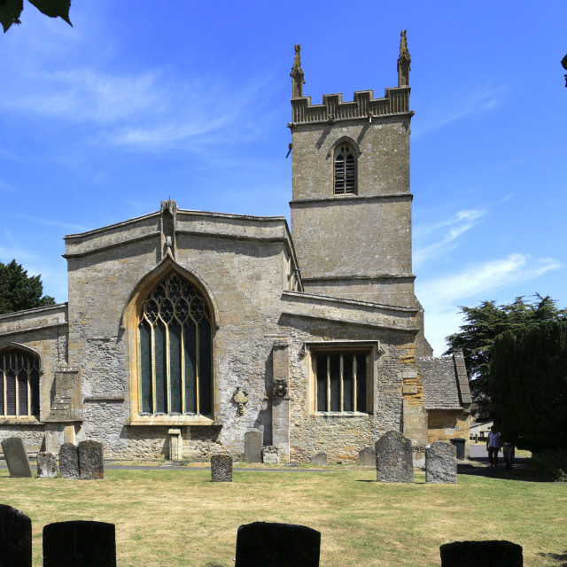 """St Edwards parish Church, Stow on the Wold town, Gloucestershire, Cotswolds,..."" stock image"