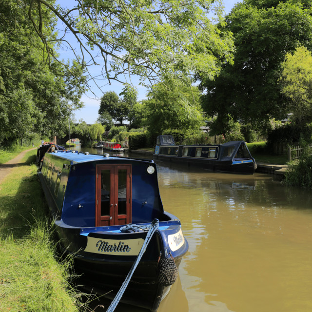 """Narrowboats on the Oxford Canal at Heyford Wharf, Lower Heyford village,..."" stock image"