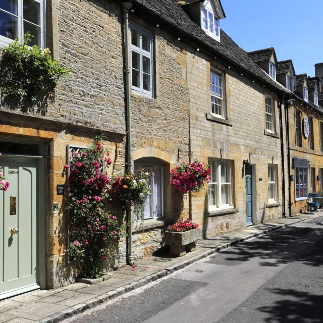 """Street view at Stow on the Wold Town, Gloucestershire, Cotswolds, England"" stock image"