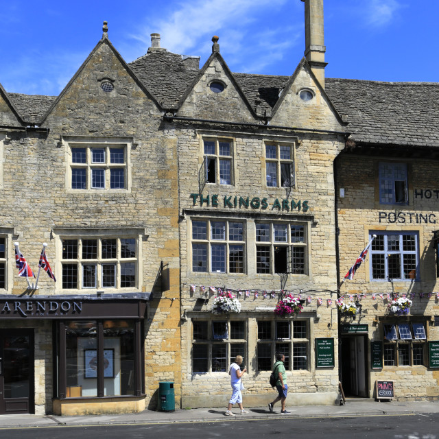 """The Kings Arms Coaching Inn, Stow on the Wold Town, Gloucestershire,..."" stock image"
