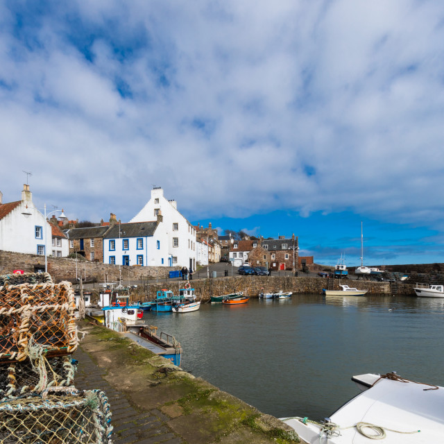 """Crail harbour Fife with creel's in foreground"" stock image"