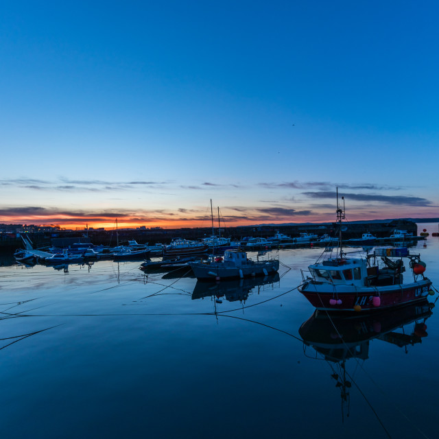 """Newhaven harbour Edinburgh sunset"" stock image"