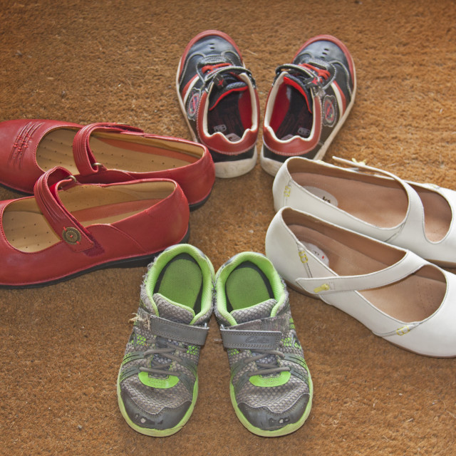 """""""A Family of Shoes"""" stock image"""
