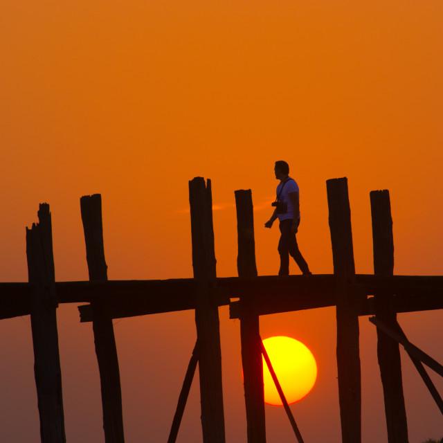 """Enjoying the sunset at U Bein Bridge"" stock image"