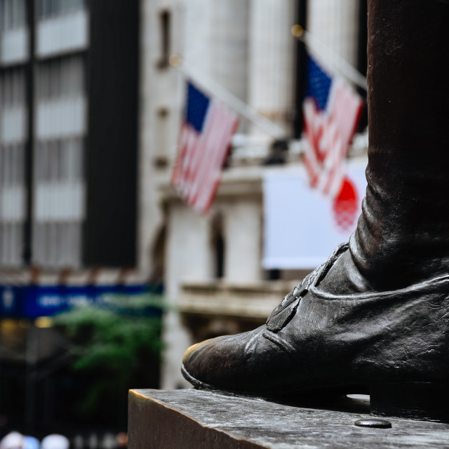 """""""Close up of foot of George Washington statue in Federal Hall in"""" stock image"""