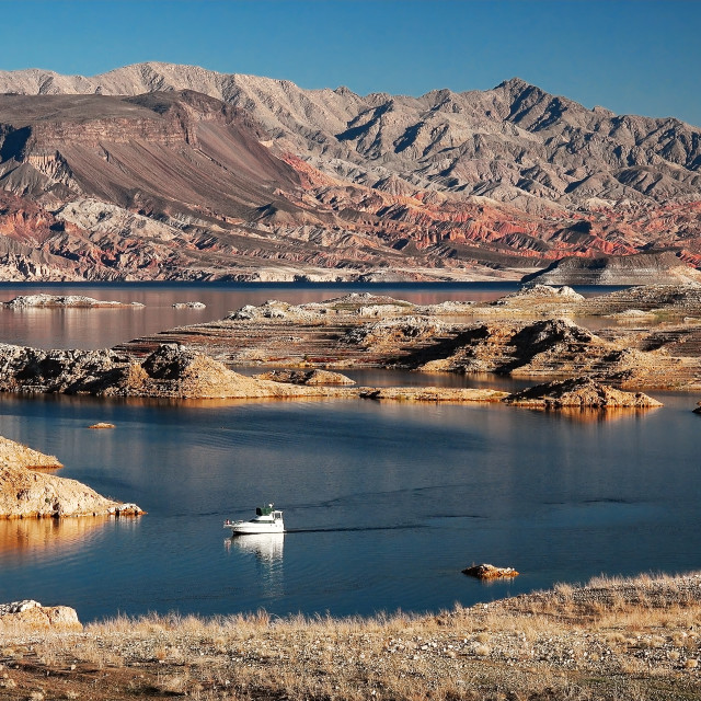 """""""Lake Mead and Powerboat"""" stock image"""