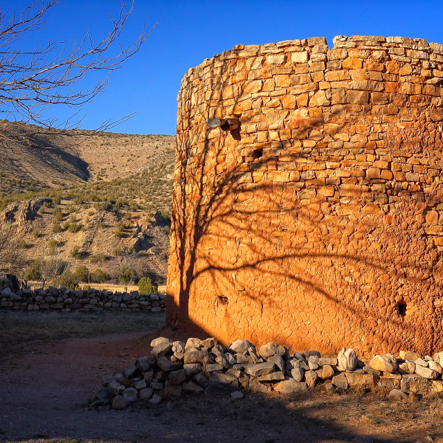 """""""The Torreon Rock Tower Fort in Lincoln, New Mexico"""" stock image"""