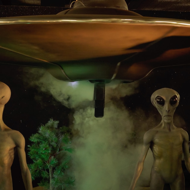"""Aliens and Spaceship at the International UFO Museum and Research Center"" stock image"