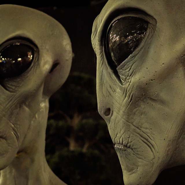 """Aliens at the International UFO Museum and Research Center in Roswell, NM"" stock image"