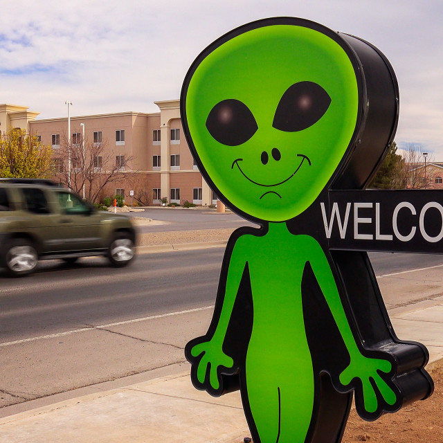 """Little Green Alien and Welcome Sign in Roswell, New Mexico"" stock image"