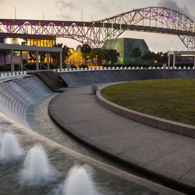 """Corpus Christi Harbor Bridge and Water Gardens at Night"" stock image"