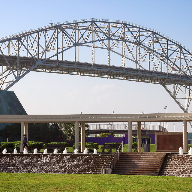 """Corpus Christi Harbor Bridge and Visitors at Bayfront Science Park"" stock image"