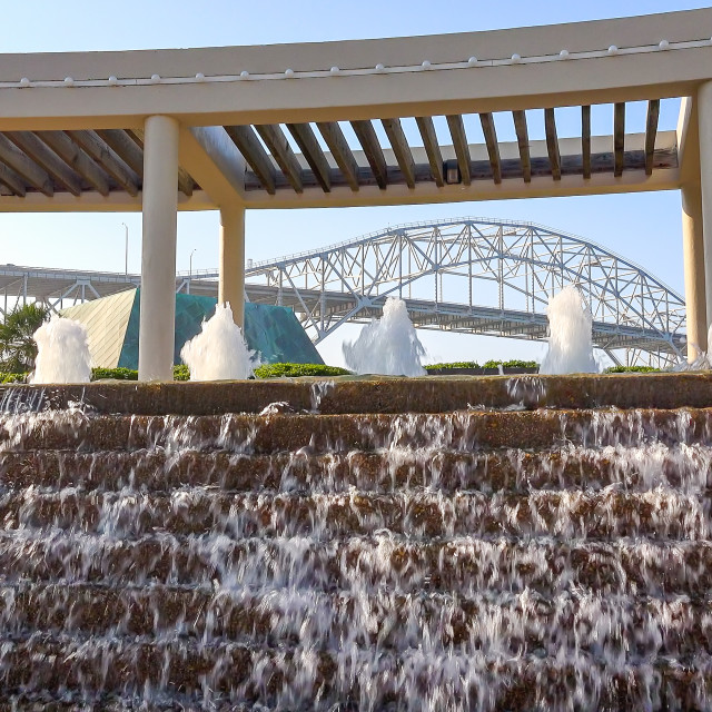 """""""Corpus Christi Harbor Bridge and Water Fountains at Bayfront Science Park"""" stock image"""