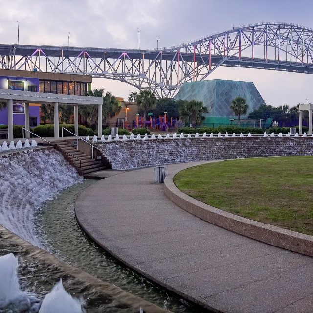 """""""Corpus Christi Harbor Bridge and Water Fountains at Bayfront Science Park at..."""" stock image"""