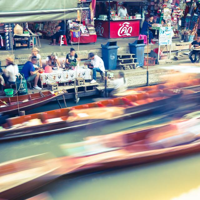 """Damnoen Saduak Floating Market Near Bangkok, Thailand"" stock image"