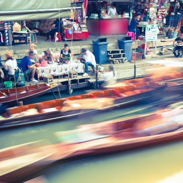 """Damnoen Saduak Floating Market Near Bangkok, Thailand (people/logos blurred)"" stock image"