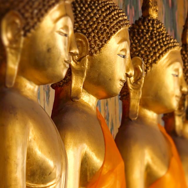 """Golden Buddha Statues at Wat Arun in Bangkok, Thailand"" stock image"