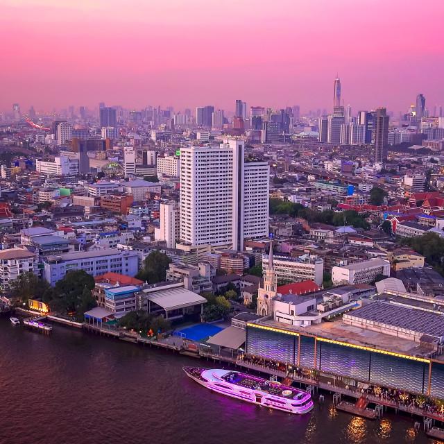 """Bangkok Skyline and Chao Phraya River at Sunset in Thailand"" stock image"