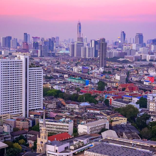 """Bangkok City Skyline at Sunset in Thailand"" stock image"