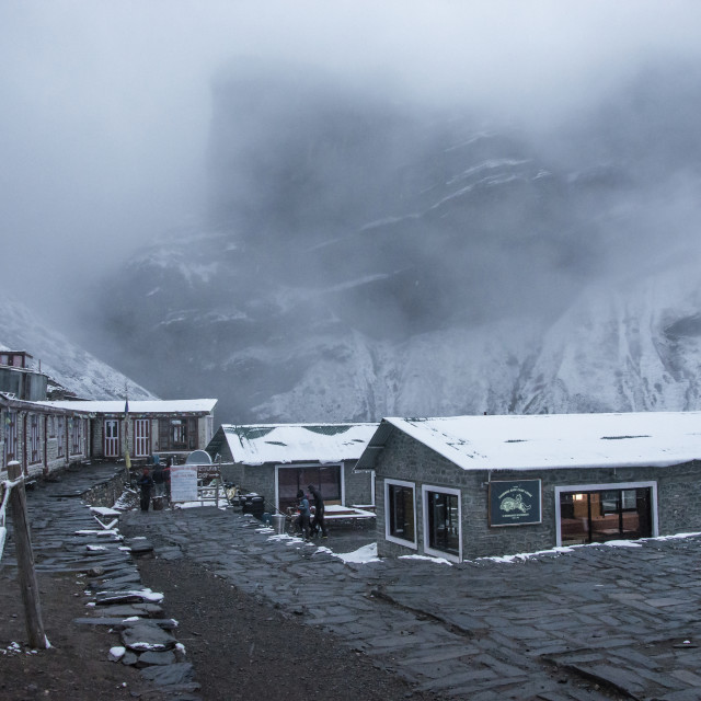 """A cloudy evening at base camp at the Thorong La pass on 6 April 2018 on the..."" stock image"
