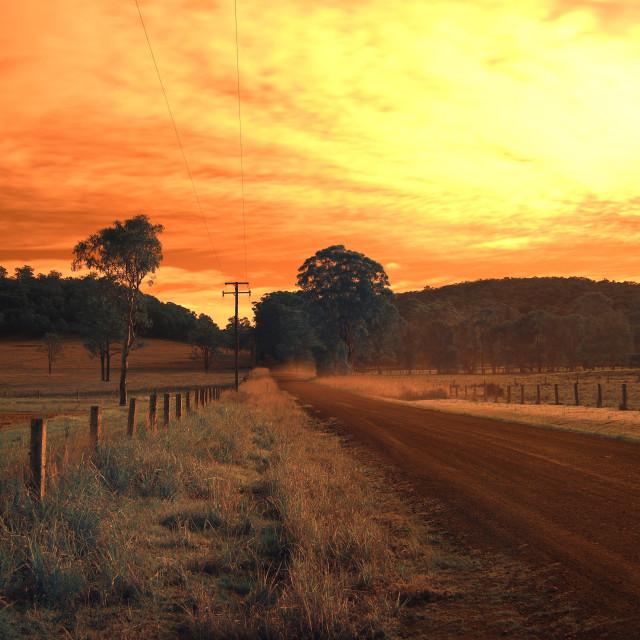 """Australian Country road Nabiac in infrared"" stock image"