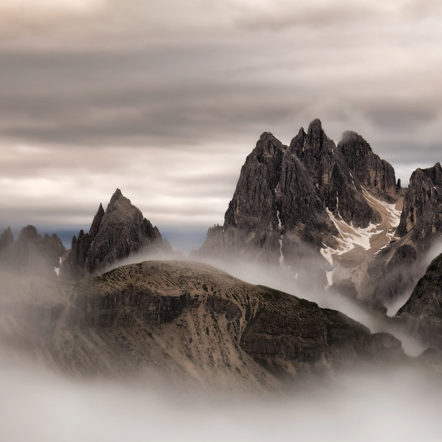 """""Dramatic sunrise"" Cadini di Misurina - Dolomites"" stock image"