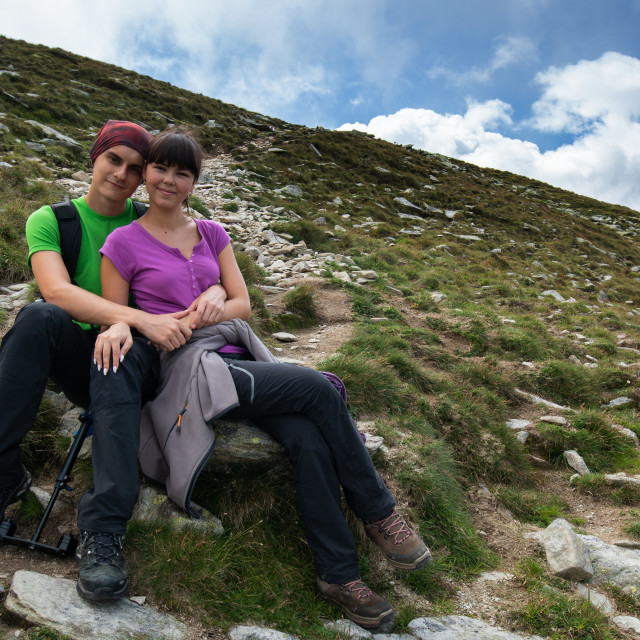 """Couple of hikers resting"" stock image"