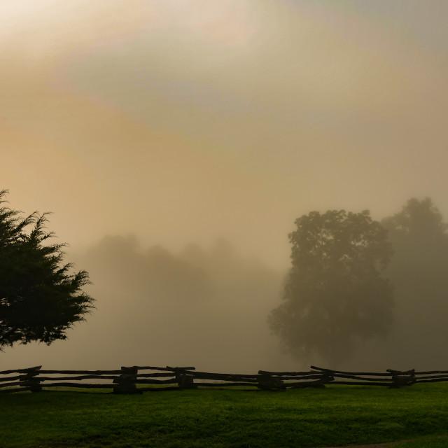 """Smoky Mountain Early Morning Fog"" stock image"