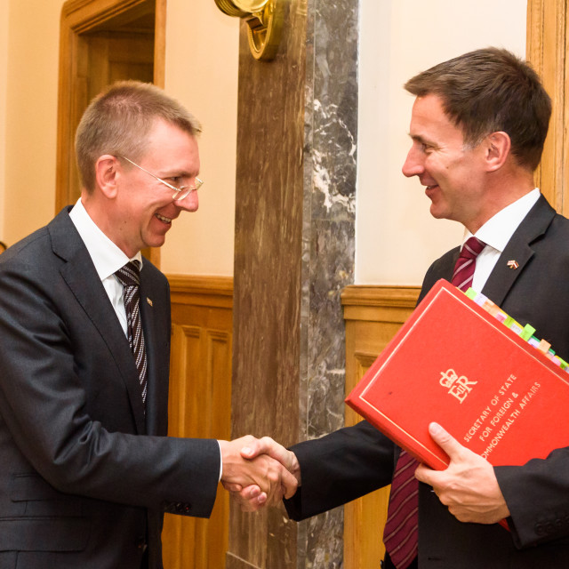 """Jeremy Hunt, Minister of Foreign Affairs of United Kingdom arrives to Official State Visit with Edgars Rinkevics, Minister of Foreign Affairs of Latvia."" stock image"