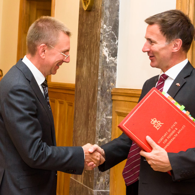 """""""Jeremy Hunt, Minister of Foreign Affairs of United Kingdom arrives to Official State Visit with Edgars Rinkevics, Minister of Foreign Affairs of Latvia."""" stock image"""
