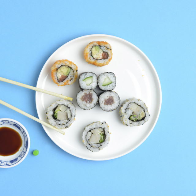 """Sushi Rolls on a plate"" stock image"