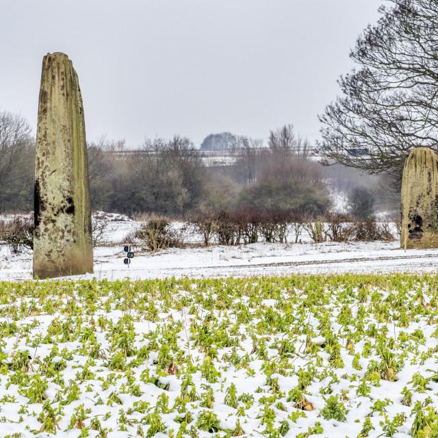 """The Devils Arrows in Winter at Boroughbridge"" stock image"