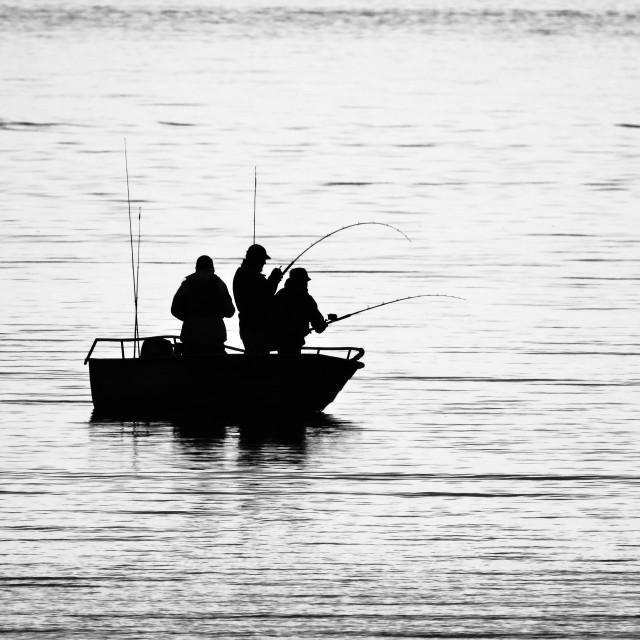 """Fishing Silhouette (Arctic Circle)"" stock image"
