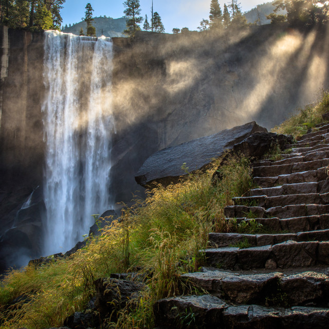 """Path on the Mist Trail, Vernal Falls, Yosemite Valley"" stock image"