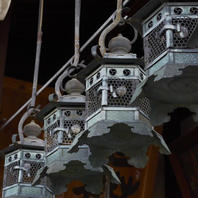 """""""Brass hanging lanterns"""" stock image"""
