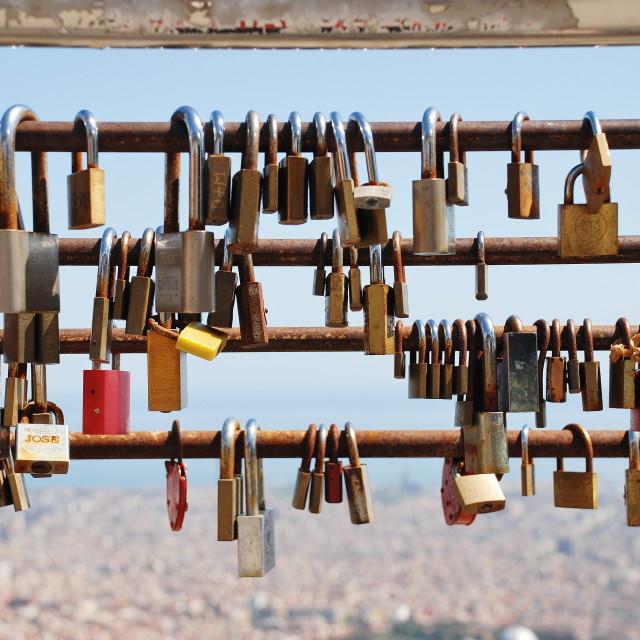 """Locked love, Barcelona"" stock image"