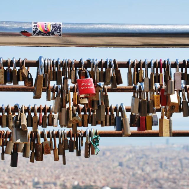 """""""Love locks, Barcelona"""" stock image"""