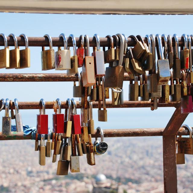 """""""Locked in love, Barcelona"""" stock image"""