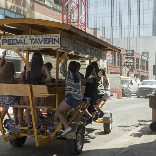 """""""Fun on a Pedal Tavern in Nashville"""" stock image"""
