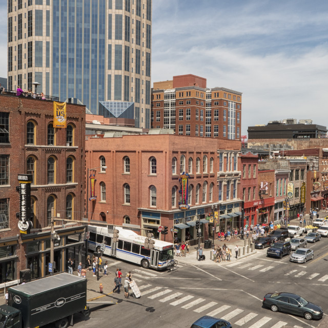 """""""Aerial view on Broadway in Nashville, TN"""" stock image"""