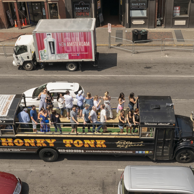 """""""Drinking party on bus in Nashville"""" stock image"""
