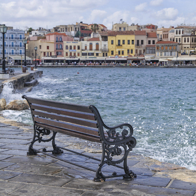"""Waterfront Xania in Crete"" stock image"