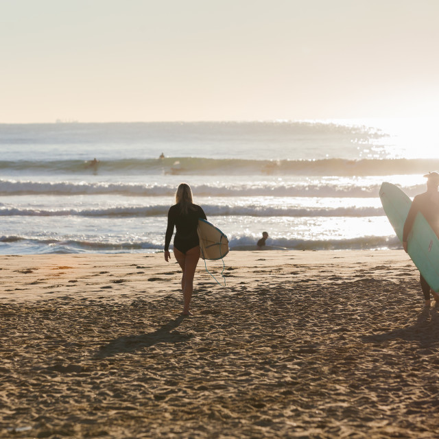 """Going Surfing Longboards Boys Girls"" stock image"