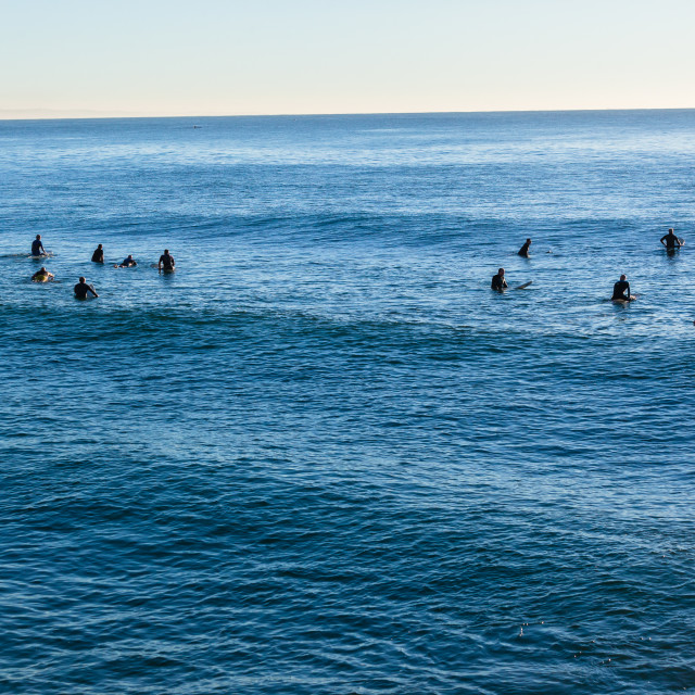 """""""Surfing Longboards Waiting Waves"""" stock image"""