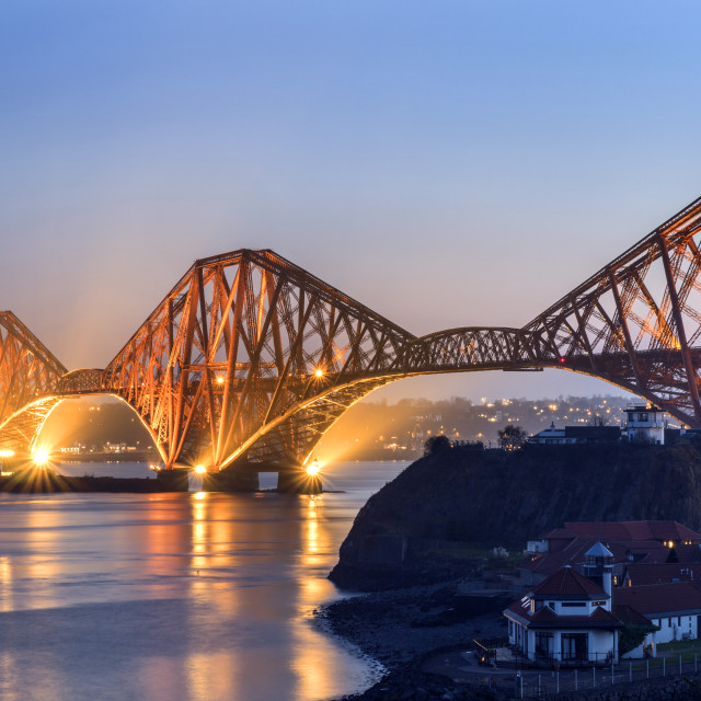 """Forth Bridge at Dusk North Queensferry"" stock image"