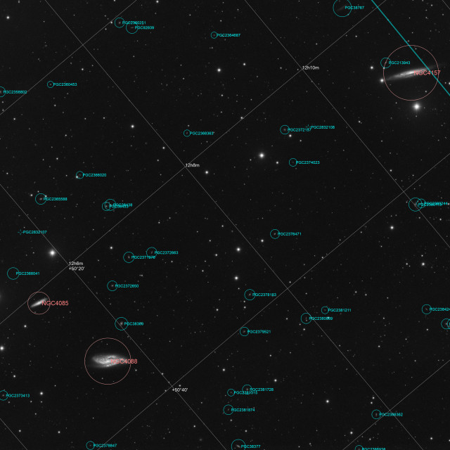 """Galaxy NGC 4088 and NGC 4157 in constellation Ursa Major - annotated image"" stock image"