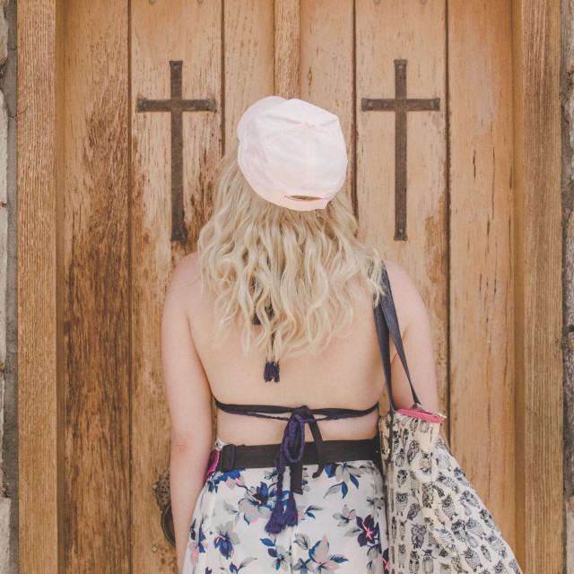"""""""Girl Stood in Church Door"""" stock image"""
