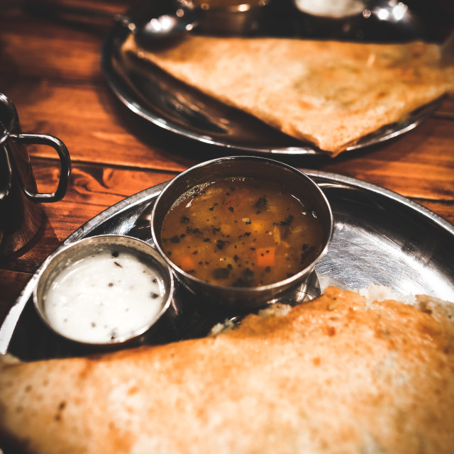"""Indian vegeterian food in cafe. Vintage grain toning"" stock image"