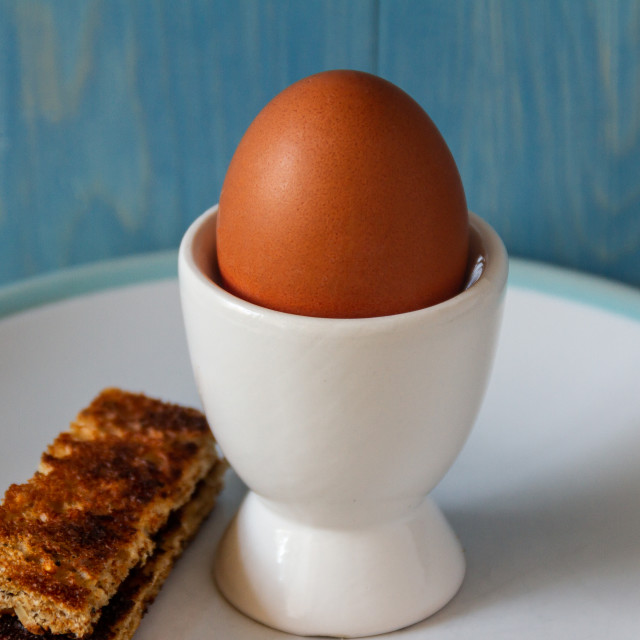 """Boiled egg and soldiers"" stock image"