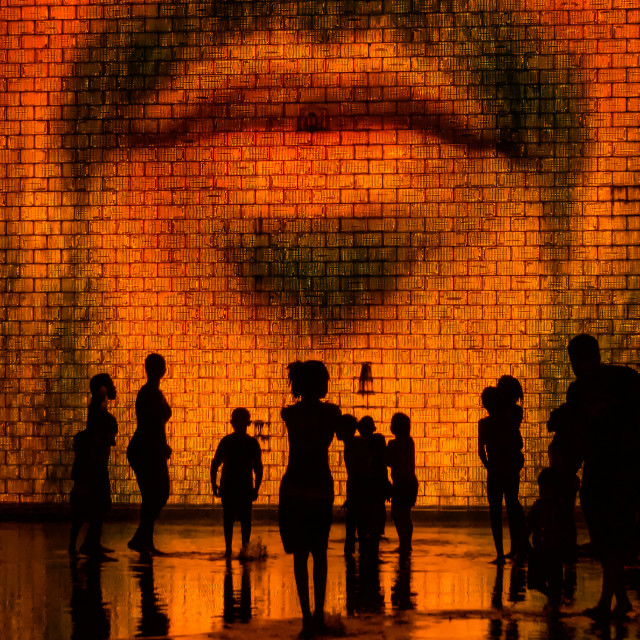 """Late Night Gathering: Crown Fountain, Millennium Park, Chicago"" stock image"
